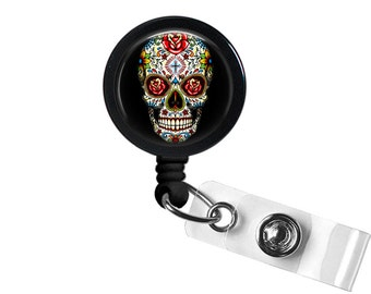 Sugar Skulls Photo Glass / Bottle Cap Retractable ID Badge Reel