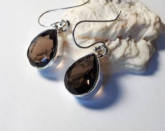 Smoky quartz earrings set in 92.5 sterling silver, faceted gemstone, teardrop
