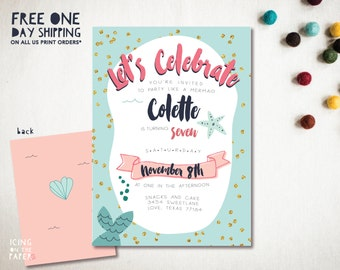 Mermaid Party Invitation for Birthdays and Showers