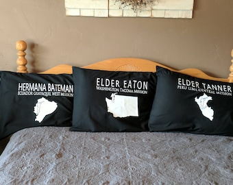 Mission Missionary Pillowcase Missionary Gift includes Map  AVAILABLE for ALL MISSIONS Missionary Christmas