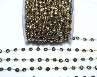Beautiful Pyrite Coin Rosary Chain -  Pyrite Coin Wire Wrapped Rosary Chain By Foot , 5.50 - 6 mm - RB5496