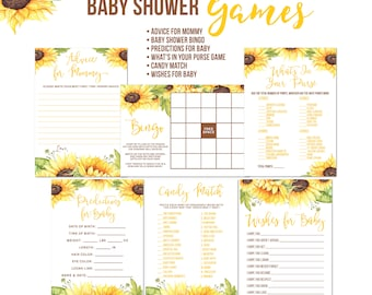 Sunflower Baby Shower Games, Sunflowers, Rustic Baby Shower Games, Wishes for Baby, Advice For Mommy, BINGO,  Prediction Cards