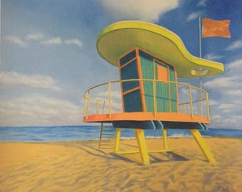 14th Street Lifeguard Stand Giclee