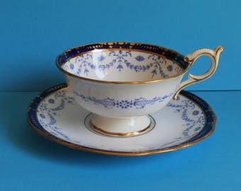 Collectible Rare Coalport cup and Saucer. Blue and White/ Bone China 1910's