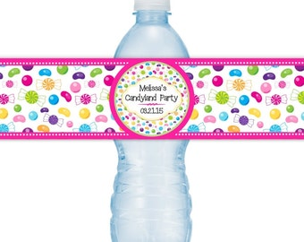 Printable Candy Land Birthday Water Bottle Labels, Custom Water Bottle Labels, Printable Candy Land Labels, Fit on 16.9 oz water bottles