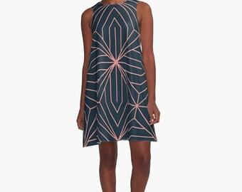 Art Deco Dress, A Line Dress, Art Deco, 1920's inspired dress, 1930's dress, retro dress, 1930's clothing, Blue Dress, Art Deco Pattern,