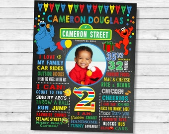 Printable Elmo Sesame street Second Birthday chalkboard sign - 2nd birthday chalk board poster (15-2)