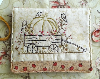 Pumpkin Wagon Hand Embroidery PDF Pattern Instant Download