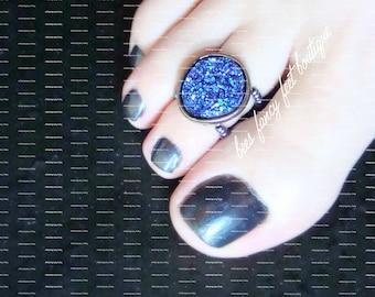 Druzy Toe Ring, Purple Acrylic Toe Ring, Hematite Toe Ring, Stretch Bead Toe Ring