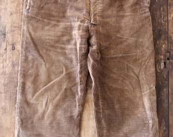 """Vintage 1940s 40s 1950s 50s french brown corduroy trousers work chore pants v notch suspender buttons 36"""" x 27"""" workwear salt and pepper"""