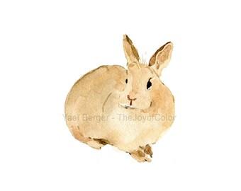 Nursery art rabbit print, cute bunny art Print, rabbit  watercolor print, Easter bunny, animals art, Kids room, woodland, caramel brown