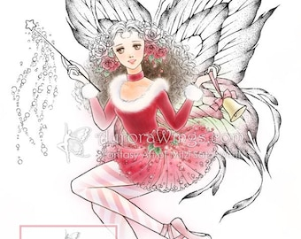 Digital Stamp Download - Christmas Fairy w/ Bell, Roses, Pointe Shoes - Fantasy Line Art for Cards & Crafts by Mitzi Sato-Wiuff