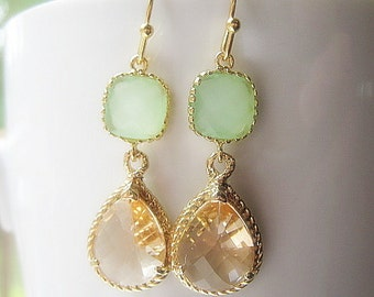 Blush and Mint Bridesmaid Earrings / Glass Dangle / Teardrop Earrings / Bridesmaids / Wedding / Bridal Party / 14K Gold Filled Wire / Gold