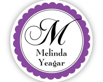 Personalized Name Label Stickers - Elegant Purple Monogram Name Tag Stickers - Personalized Name Sticker Tags - Back to School Name Labels