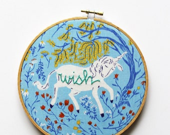 "Unicorn Art. Embroidery Hoop Art. Hand Embroidery. Stitched Text ""wish"". Nursery Decor. Little Girl's Room. Art. Unicorn Hoop in Blue"