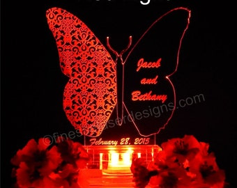 Lighted Cake Topper/Butterfly/Wedding Cake
