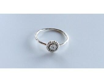 Sunflower Ring - Sterling Silver, sunflower, silver ring, stacking ring, flower ring