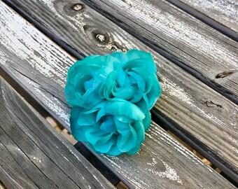Turquoise Roses Silk Flower Hair Clip