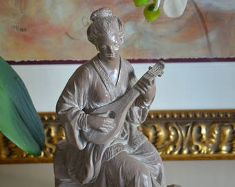 "Vintage 12"" Figurine of Lady Playing Mandolin"