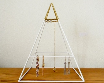 Tall Welded Pyramid Jewelry Organizer in White and Gold - Ready to Ship