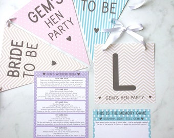 Hen Bunting & L Plate, Hen Bunting, Hen Kit, Hen Party Games, Hen Party Itinerary, Bride to be Bunting, Memory Game, Hen L Plates, Hen Do