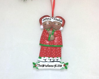 Brown Couple in Pajamas Personalized Christmas Ornament / African American / Couple Ornament / Personalized Ornament