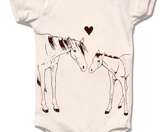 Organic Baby Horse Onesie, Infant Bodysuit, Organic Clothes, horse pony foal clothes, Horse One Piece, Equestrian, Baby Girl Shower Gift