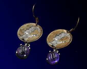 Ear rings from Mercury Dimes and amethysts stones. 90% silver, 24 karat gold plated.
