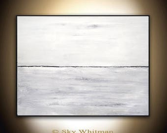 Large Original Landscape Painting Modern Contemporary Art 30 x 40 Gray Taupe Abstract Painting Acrylic by Sky Whitman