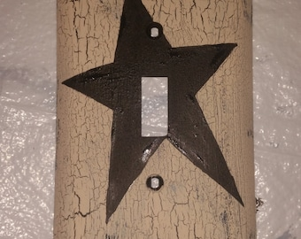 Primitive STAR Light Switch Plate Cover black- ivory country rustic western wall decor  handpainted