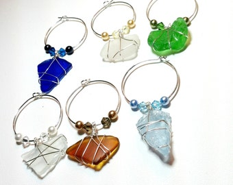 Wine Charms, wine glass charms, beach glass, finger lakes, wedding favor, beach wedding, bridal shower gift, housewarming gift, wedding gift