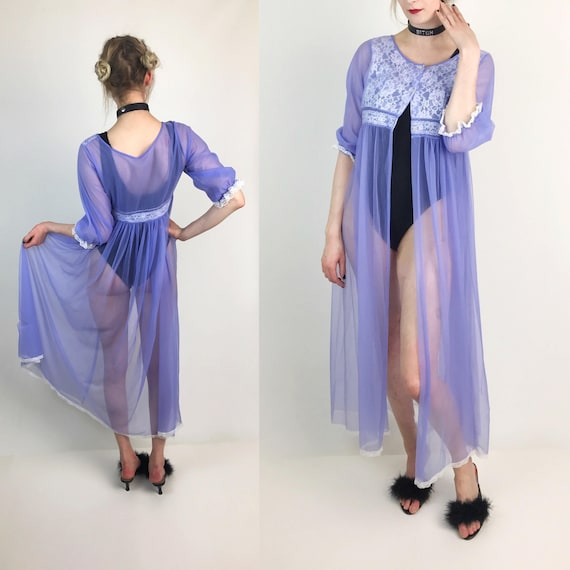 Lilac Pastel Purple Sheer Sexy Open Front Lingerie Layer - See Through Long Mesh Layer - Slip Dress Cover Up Sheer VTG Lingerie Size Medium