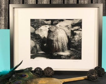 Yosemite National Park waterfall - black and white photography