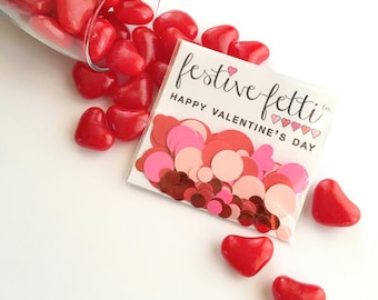 Valentine's Day festive-fetti™ Confetti - Hot Pink and Red Heart Party Confetti in a Bag / Toss Confetti / Confetti as Decor
