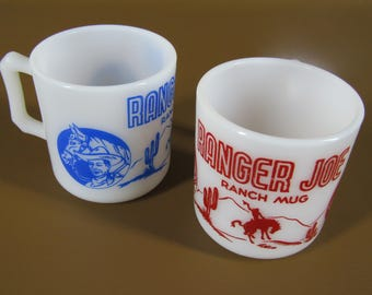 Pair of Hazel Atlas milk glass coffee mugs RANGER JOE Ranch Mug