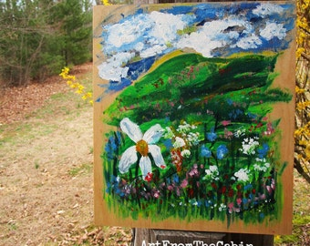 Acrylic Landscape Painting, Painting on Reclaimed Wood, Landscape, Wildflowers, Daisy, Mountains, Clouds, Original Art, Ready to Hang