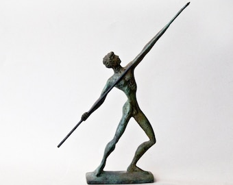 Javelin Thrower, Bronze Athlete, Ancient Greece Olympic Games, Spear Thrower, Metal Art Sculpture, Greek Statue, Museum Quality Art