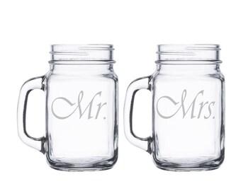 Custom Mr. and Mrs. Mason Jar Mugs with Handle / Add name or Date / Set of 2 / Personalized Mug / Wedding, Anniversary Gift / 48 Designs