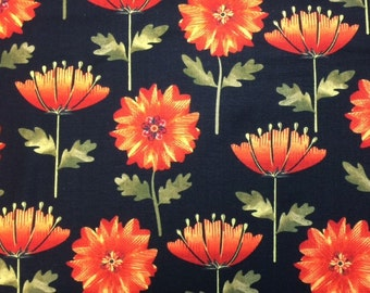 Kanvas LEAF INTO AUTUMN (Black) 100% Cotton Premium Fabric - sold by 1/2 yard