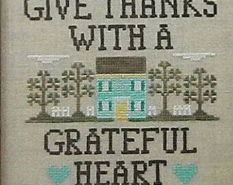 Give Thanks with a Grateful Heart Framed Finished Cross Stitch