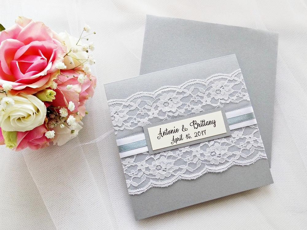Gray Wedding Invitation Lace Wedding Invitation Lace Invitation Gray ...