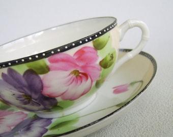 Vintage Nippon China Teacup & Saucer Pink Purple Flowers Polka Dots
