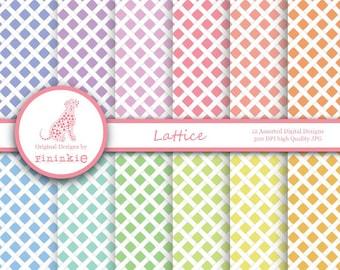 Lattice Digital Paper, Trellis Digital Scrapbooking Paper Pack, INSTANT Download, Commercial Use (Cu)