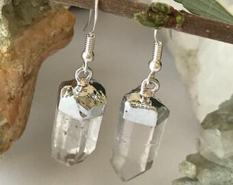 Quartz Point Earrings, Silver Dipped Quartz Point Earrings, Quartz Earrings