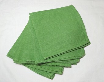 6 Linen Dinner Napkins in Medium Green, 15 Inches Square, Hemmed Edges, 1970s Vintage Dining Accessories, Table Decor