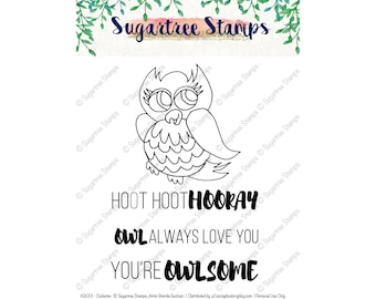 Owlsome by Sugartree Stamps INSTANT DOWNLOAD KB001 Digital Stamps, Owl Stamp w/ Owl Sayings, Printable Hand Drawn Owl
