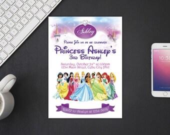 Disney Princesses Invitation, Disney Princesses Birthday, Disney Princesses Invites, Disney Princesses Party Printables