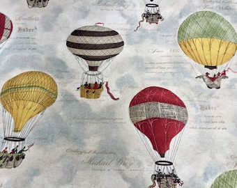 Hot Air Balloon Print Fabric Curtain Upholstery Cotton Material 280cm EXTRA WIDE