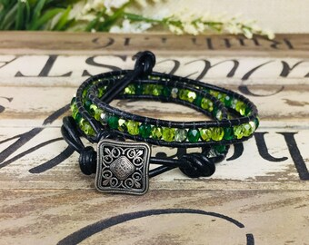 Green Wrap Leather Bracelet, Leaf Leather Friendship Bracelet, Women Green Black Silver Boho Wrap Bracelet, Gift for Her, Gift for Mom