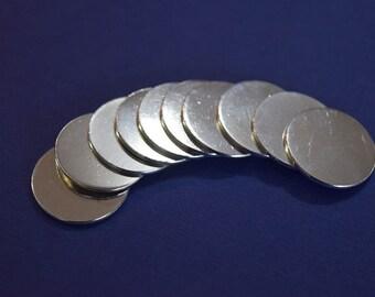 "25 Polished Aluminum 1/2"" Disc Circle Blanks - Metal Stamping Blanks - 20G Aluminum - Round Blank"